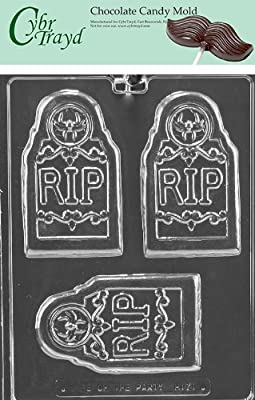 Cybrtrayd H171 RIP Tombstone Bar Chocolate Candy Mold with Exclusive Cybrtrayd Copyrighted Chocolate Molding Instructions