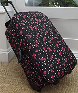 Travel Luggage Suitcase On Wheels Black With Red Cherrys Medium Expanding Trolly Light Weight