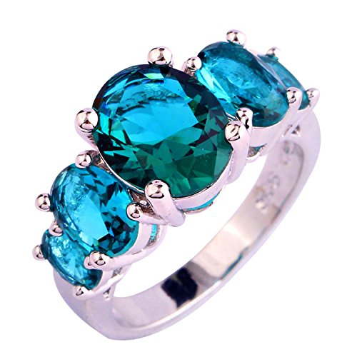 Psiroy 925 Sterling Silver Grace Womens Band Charms 8mm*8mm Round Cut Green topaz Filled Ring