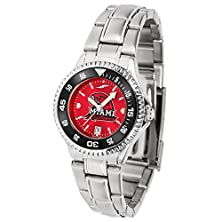 buy Miami (Ohio) Redhawks Competitor Anochrome Ladies Watch With Steel Band And Colored Bezel