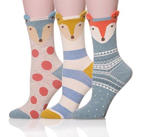 proetrade-women-soft-cute-animal-pattern-casual-cartoon-socks-3-pairs-fox