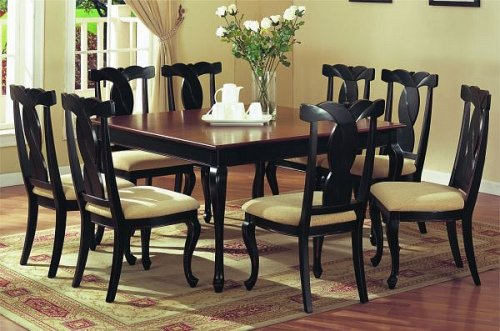 9pc Antique Navy Weathered Finish Dining Table & Chair Set