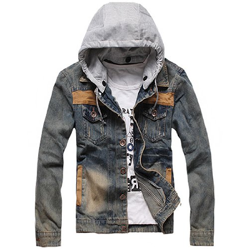Mens Washed Denim Detachable Hooded Jean, X-Large,As Picture