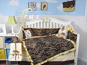 SoHo Golden Giraffe Minky Baby Crib Nursery Bedding Set 13 pcs included Diaper Bag with Changing Pad & Bottle Case ** Thanksgivinig Special ! **