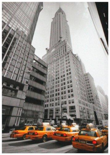 """Kunstdruck """"New York & 4 gelbe Taxis"""" - 50x70x4 cm - Extraklassiges Leinwandbild, Keilrahmenbild. Unerreichbare Qualität!"""