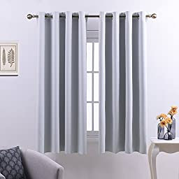 Nicetown Thermal Insulated Grommet Room Darkening Curtain Panels for Bedroom (One Panel,52 Wide by 63 Inch Long,Platinum)