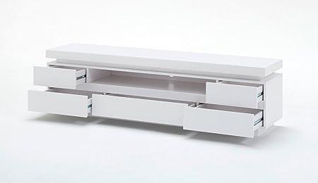 Dreams4Home TV-Lowboard ' Atlantis ', in Hochglanz weiß, inkl. RGB-LED Beleuchtung mit Fernbedienung, Wohnzimmer, Sideboard, TV-Schrank, Kommode, Fernsehschrank