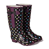 Extra Wide Calf Women's Rubber Rain Boots: Up to 20 Inch Calf - Spotty