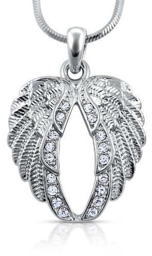 Lovely Crystal Guardian Angel-Wings/Wing Silver Tone Necklace Fashion Jewelry Gift