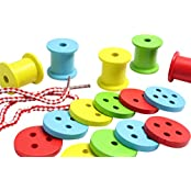 Chunky Wooden Spools And Buttons Lacing Activity Large Wood Beads For Toddlers And Preschoolers Montessori Toy