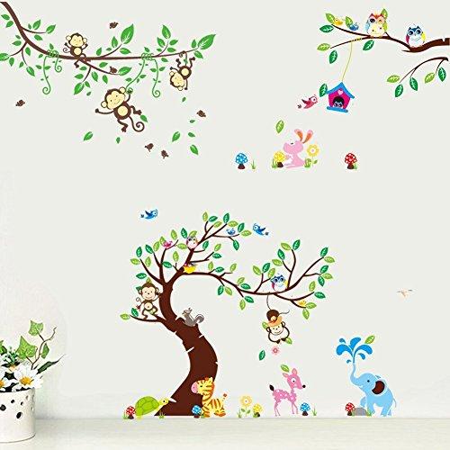 rainbow fox wandtattoo wandsticker eule baum giraffe l we. Black Bedroom Furniture Sets. Home Design Ideas