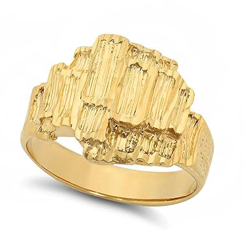 Da uomo elegante grande classico placcato oro 14K Nugget Anello, placcato oro, 24,5, cod. GL-MN4-11