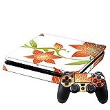 SONY 新型PS4 スリム 薄型 プレイステーション専用 スキンシール 裏表 全面セット カバー ケース 保護 フィルム ステッカー デコ アクセサリー ユニーク 花 フラワー 赤 004440