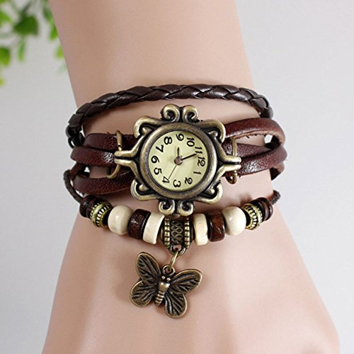 Mo2Mo@Classic Elegant Brown Leather Strap Butterfly Roma Number Dial Quartz Woman Ladies Watch Bracelet (Brown)