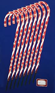 Amazon.com : Set of 8 Lighted Candy Cane Christmas Lawn ...