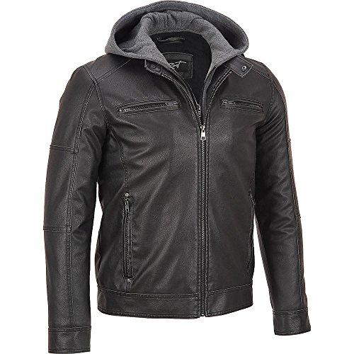 ae21c4f6d96 Black Rivet Mens Big   Tall Faux-Leather Cycle Jacket 3XLT Black