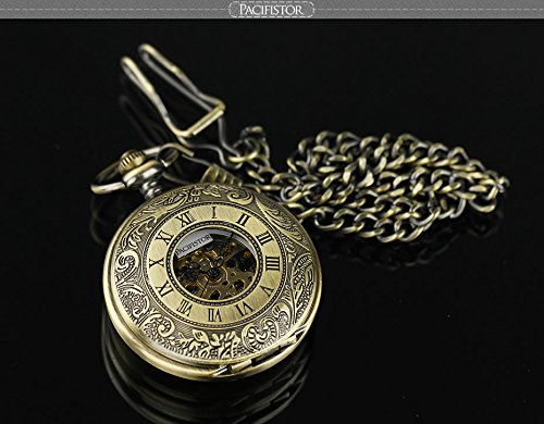 Pacifistor Bronze Men's Classic Vintage Antique Hand Wind Up Semi Automatic Skeleton Mechanical Roman Numeric Analog Pocket Watch +Fob-Chain #PX-012-BRZ 3