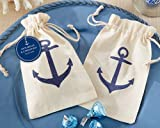 "Set of 12 - Anchor Muslin Favor Bags 6"" - Anchor Decor - Wedding Favor Bags"