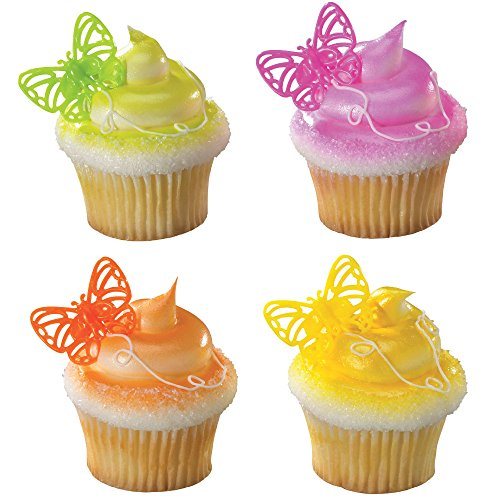 DecoPac Butterfly Brights Cupcake Rings (12 Count) - 1