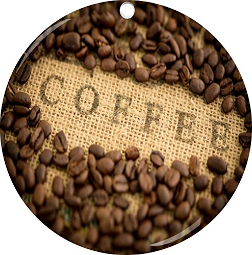 Rikki Knighttm Coffee Beans With Coffee Inscripted On Bean Sack Design Porcelain Round Ornament (Image Printed On Both Sides)