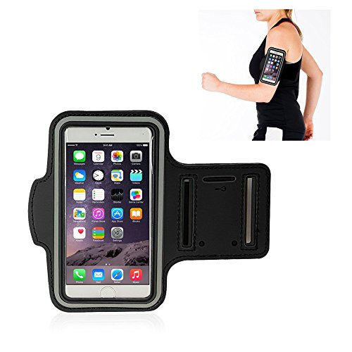 For Apple iPhone6 (4.7 Inch) Sports Armband -WenBelle,EASY FITTING - Running sleeve Arm Bands Armband Pouch WITH KEY HOLDER - Cover fashion Breathable Waterproof Sweat-proof Neoprene Armband Case Velcro Closure - with Free screen protector (Black)