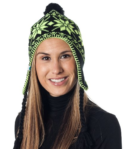 43a837b49efae The Features Alki i Braided Neon Aviator warm beanie snowboarding winter  snow hats Green -