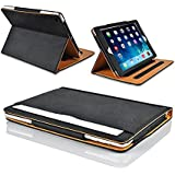 "MOFRED® Black & Tan Apple iPad Air (Launched November 2013) Leather Case-MOFRED®- Executive Multi Function Leather Standby Case for Apple New iPad Air with Built-in magnet for Sleep & Awake Feature -- Independently Recommended by ""The Daily Telegraph"" as #1 iPad Air Case!"