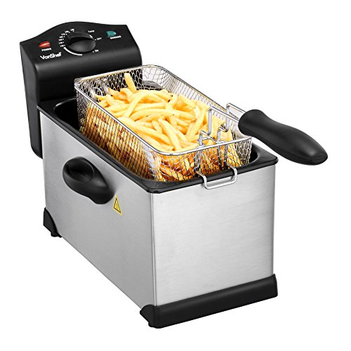 Lowest Prices! VonShef 3 Litre Stainless Steel Deep Fryer with Viewing Window - Non-Stick, Easy Clea...