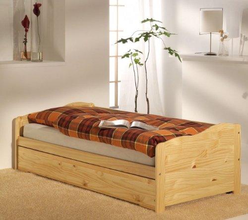 Lit gigogne lit fonctionnel tiroir-lit LILLI, 90 x 200 cm pin massif vernis naturel