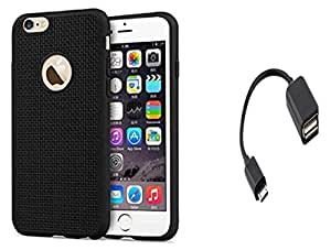 AUX MART Soft Silicone Grid Design Back Case Cover For Apple iPhone 4/4s & USB 2.0 Female to Micro USB Male OTG On-The-Go Cable Adapter(Smooth Surface)