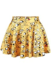 Pink Queen Women Girls Digital Print Stretchy Flared Pleated Casual Mini Skirt
