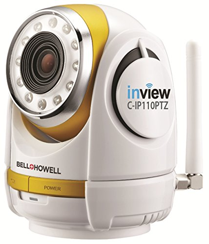 Bell+Howell InView HD 1280 x 720p H.264 Wireless Wi-Fi Pan Tilt Zoom IP Camera with 10x Zoom, IR LED Night Vision and Live View (C-IP110PTZ)