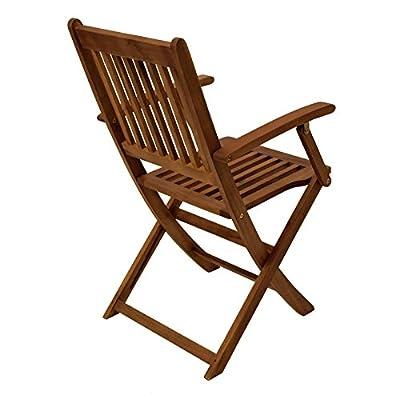 2x Klappstuhl BENITA mit Armlehnen, Akazie geölt von gartenmoebel-einkauf - Gartenmöbel von Du und Dein Garten