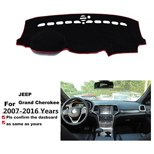 FMtoppeak Dashboard Dash Dark Mat Dash Mat Sun Cover Pad For Jeep Grand Cherokee 2007-2016 Red with Logo (2013 Jeep Dash Cover compare prices)