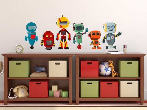 Robot Fabric Wall Decals, Set of 6 Cute Robots, 3 Different Sizes by Sunny Decals