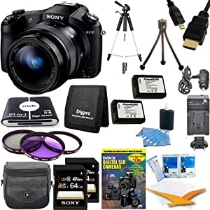 """Sony DSCRX10 RX10 RX10/B DSCRX10B RX10B Cybershot 20.2 MP Digital Still Camera with 3-Inch LCD Screen Includes camera, 2 64GB SDHC Cards, 59"""" Tripod, 2 NP-FW50 Camera Batteries, Carrying Case, 62mm Filter Kit, Memory Card Wallet and MORE"""