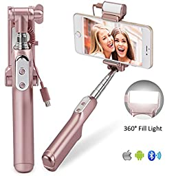 Selfie Stick, Elftear Wireless Bluetooth Selfie Stick Extendable Foldable Monopod with Adjustable 360°Fill Light Rear Mirror for iPhone Android Phone (Rose Gold)
