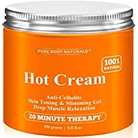 Anti Cellulite Cream & Muscle Relaxation Cream HUGE 8.8oz, 100% Natural 87% Organic - Cellulite Treatment Hot...