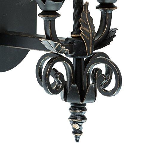 applique mural style rustique, romantique, classique antique raffiné support en métal plafonniers en tissu couleur blanc , applique pour salon ou chambre ampoule non-incl 2 x 60W E14 230 V