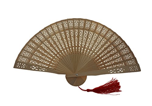 Bilipala Chinese Sandalwood Scented Wooden Carved Folding Hand Fan, Home Decoration (Sandalwood Folding Fan compare prices)