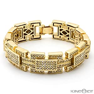 Yellow Gold Plated Iced Out Rectangle Hip Hop Bracelet