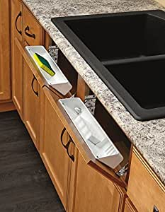 Rev-A-Shelf - 6572-11-11-52 - 11 in. White Polymer Tip Out Sink Front Trays and Hinges