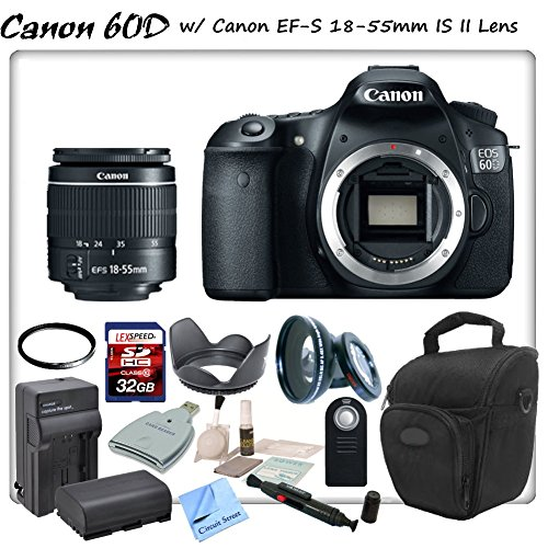 Canon Eos 60D Digital Slr With Canon Ef-S 18-55Mm F/3.5-5.6 Is Ii Lens & Cs Sports Package: Includes High Definition Wide Angle/Macro Lens, Uv Filter, High Speed 32Gb Sdhc Memory Card, Sd Card Reader, Holster Case, Canon Lpe6 Replacement Battery, Rapid Tr