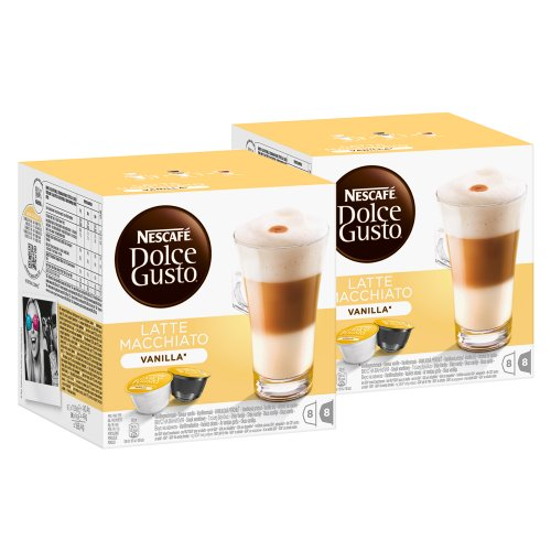 Buy Nescafé Dolce Gusto Latte Macchiato Vanilla, Pack of 2, 2 x 16 Capsules (16 Servings) from Nestlé