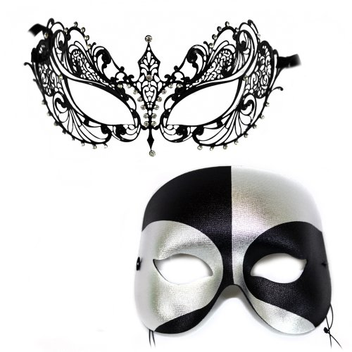 Corrine-Black Silver Masquerade Laser Cut Classic Masquerade Masks for a Couple
