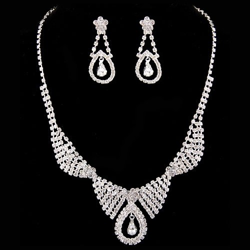 Bridal Wedding Jewelry Set Necklace Earring Crystal Rhinestone Dangle Silver