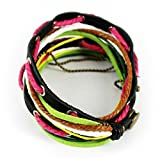 Fariishta Jewelry Colorful Cotton Rope Hand Braided Leather Wrap Bracelet£¨pink£©