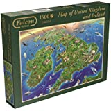 Falcon de Luxe - Map of Great Britain and Ireland 1500 Piece Jigsaw Puzzle