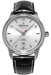 Alpina Alpiner Automatic Silver Dial Black Leather Mens Watch AL-525S4E6