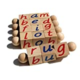 The Original Montessori Phonetic Reading Blocks - Educational Materials for the Beginning Reader Toddler 3 4 5 6 Year Old - Eco Friendly Wooden CVC Manipulative Toy for Kindergarten Language Learning
